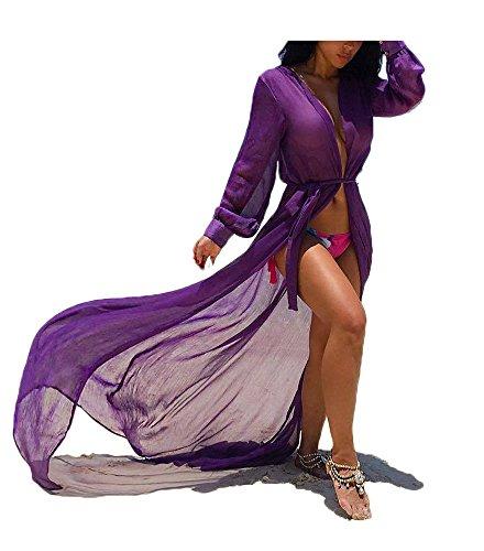 Multitrust Women Chiffon Bikini Swimsuit Cover up Cardigan Summer Beach Dress (XL, Purple)