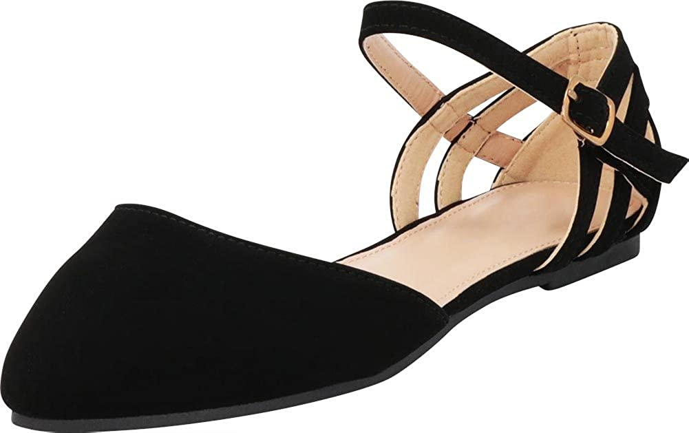 Cambridge Select Women's Pointed Toe Mary Jane D'Orsay Caged Cutout Ballet Flat