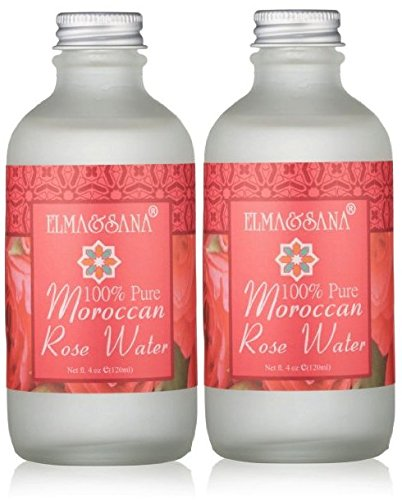 2 X Elma and Sana 100% Pure Moroccan Rose Water, Luxury Glass Bottle 2 x 4 Ounce (2 (100 Piece Bottle)