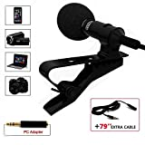 Professional Grade Lavalier Lapel Microphone - Omnidirectional Mic with Easy Clip On System - Perfect for Recording Youtube/Interview/Video Conference/Podcast/Voice Dictation/iPhone/ASMR