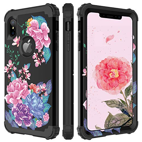 BENTOBEN iPhone Xs Max Case, Full Body Heavy Duty Shockproof Drop Protection 3 in 1 Hybrid Hard PC Soft Silicone Anti-Slip Protective Phone Cover for Apple iPhone Xs Max 6.5'' 2018, Black Flower