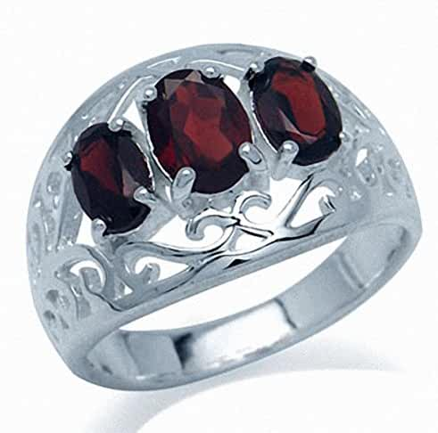 2.05ct. 3-Stone Natural Garnet 925 Sterling Silver Filigree Ring