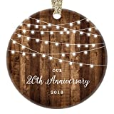 20th Anniversary Gifts, 2018 Dated Twentieth Anniversary Married Christmas Ornament for Couple Mr Mrs Rustic Xmas Farmhouse Collectible Present 3'' Flat Circle Porcelain w/Gold Ribbon & Free Gift Box