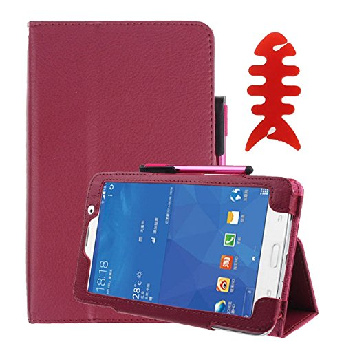 Price comparison product image Galaxy Tab4 Tablet Case[7 Inch], Towallmark Leather Case Stand Cover For Tablet SM-T230/SM-T231 + Film Pen Reel (Hot Pink)