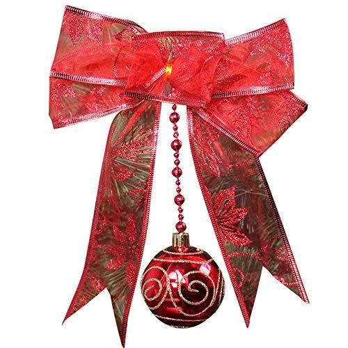 Gotian Pretty Christmas Mesh Bow Ribbon Tree Xmas Iron Ball Party Wedding Window Ornament Decoration (Red) from Gotian