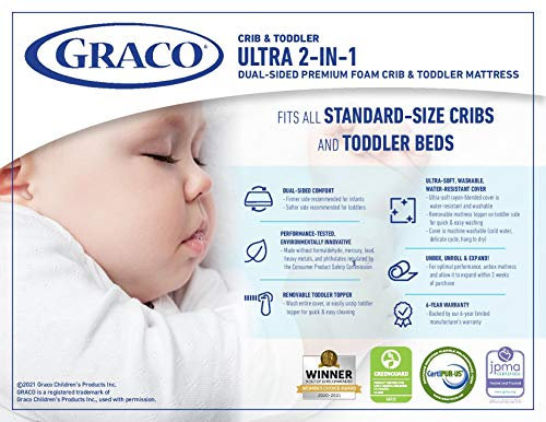 51BW9dIgXJL - Graco Ultra Dual-Sided Premium Crib And Toddler Mattress – 2 Sides For Baby And Toddler, CertiPUR-US, GREENGUARD, JPMA Certified Crib And Toddler Bed Mattress, Water-Resistant, Machine-Washable Cover