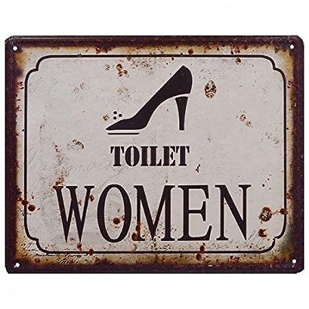 Mujer WC/Toilet Women Vintage Cartel de chapa: Amazon.es: Hogar