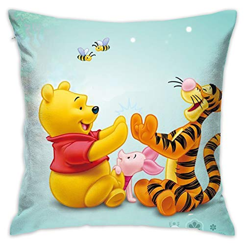 LIUYAN Pillow Cover Cushion Cover Tigger Piglet and Winnie The Pooh Decorative Pillow Case Sofa Seat Car Pillowcase Soft 18x18 Inch