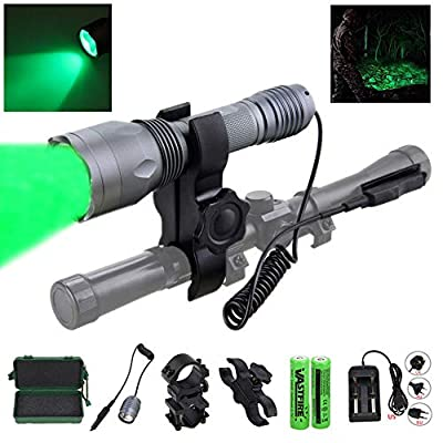 350 yard CREE LED Green Flashlight Kit Hog Coyote Varmints Predator Long Range Night Hunting Light (Flashlight + Dual Control Pressure Switch + 2 X 18650 Batteries + Charger + Barrel + Scope Mounts)