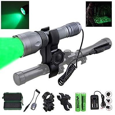 350 yard CREE LED Green Flashlight Hog Coyote Varmints Predator Long Range Night Hunting Light (Green Flashlight + Dual Control Pressure Switch + 2 X 18650 Batteries + Charger + Barrel + Scope Mounts)
