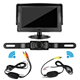 DohonesBest Wireless Rear view / Reverse Camera and Monitor Kit for Car / Vehicle / Pickup / SUV / Truck / Van License Plate Camera 4.3 Display,7 LED IR Night vision Waterproof ,Reverse Guide Lines