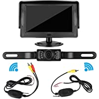 iStrong Backup Camera Wireless and Monitor Kit Waterproof License Plate Rear View Camera 9V-24V System 4.3 Display 7 LED IR Night Vision For Car /Vehicle/SUV/Van/Campe