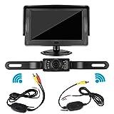 DohonesBest Wireless Backup Camera and Monitor Kit for Car / Vehicle / Pickup / SUV / Truck / Van License Plate Camera 4.3 Display,7 LED IR Night vision Waterproof ,Reverse Guide Lines