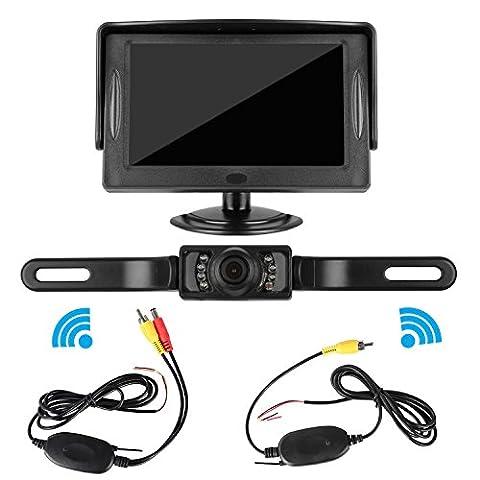 DohonesBest Wireless Backup Camera and Monitor Kit for Car / Vehicle / Pickup / SUV / Truck / Van License Plate Camera 4.3 Display,7 LED IR Night vision Waterproof ,Reverse Guide (Rear View Truck Camera)