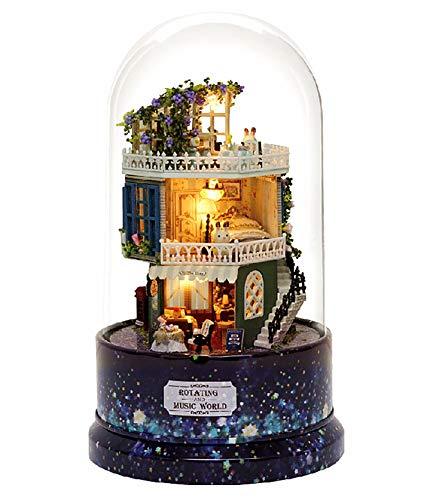 Magic House (매직 하우스) Star dream 인형 집 미니 360도 회전 오르골 LED와 오르골 (라쀼타) 함께 방진 케이스 포함 수제 키트 세트