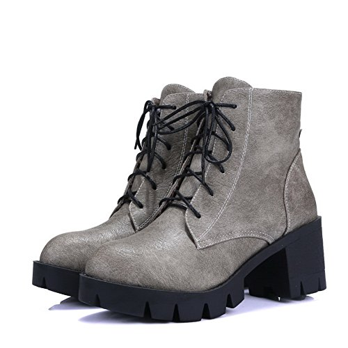 AdeeSu Ladies Bandage Platform Roman New Trend Imitated Leather Boots Gray iSBOK