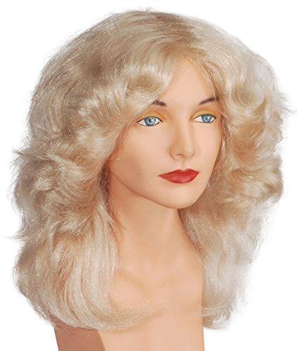[Loftus International Adult Star Power Feather Singer Costume Blonde Wig, One Size] (Farrah Fawcett Wig)