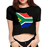 Flag Map of Greater South Africa Summer Women's Exposed Navel T-Shirts Custom Short Sleeve Crop Top