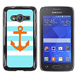 Exotic-Star ( Stripes Lines Golden Anchor Brown ) Fundas Cover Cubre Hard Case Cover para Samsung Galaxy Ace4 / Galaxy Ace 4 LTE / SM-G313F