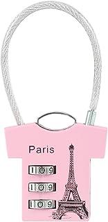 Sourcingmap–Lucchetto a combinazione 3cifre, 2.8mm, filo ad arco, lega di zinco lucchetto per valigie, rosa