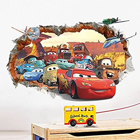 Car general mobilization 3D broken wall children's bedroom wall stickers
