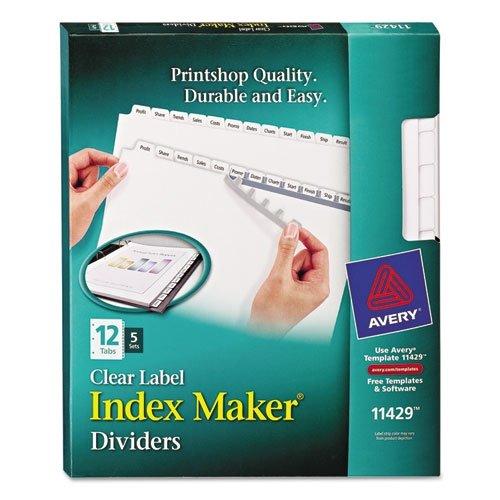 Index Maker Clear Label Dividers (12 Tabs, 5 Sets/Pack)