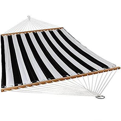 Sunnydaze Quilted Fabric Hammock Two Person with Spreader Bars Heavy Duty 450 Pound Capacity, Black and White - FITS TWO PEOPLE: Large replacement hammock measures 135 inches long x 55 inches wide from loop to loop; Extends to 157 inches long with chains and S-hooks; Bed size: 74 inches long x 55 inches wide; Heavy duty weight capacity: 450 pounds VERSATILE USES: Hang up inside the home or outside on the patio, deck, porch, backyard or anywhere else it can be hung up from trees or poles CLASSIC AND COMFORTABLE: Quilted polyester material is dye treated for UV-resistance and also features hardwood spreader bars to maximize style, comfort, and relaxation - patio-furniture, patio, hammocks - 51BWBGAiqQL. SS400  -