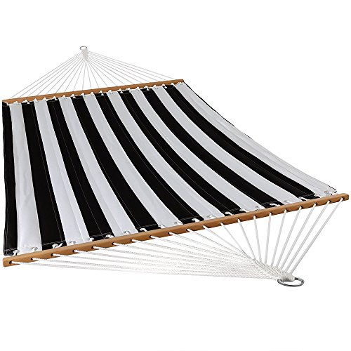Sunnydaze Quilted Fabric Hammock Two Person with Spreader Bars, Indoor Outdoor, Heavy Duty 450 Pound Capacity, Black and White