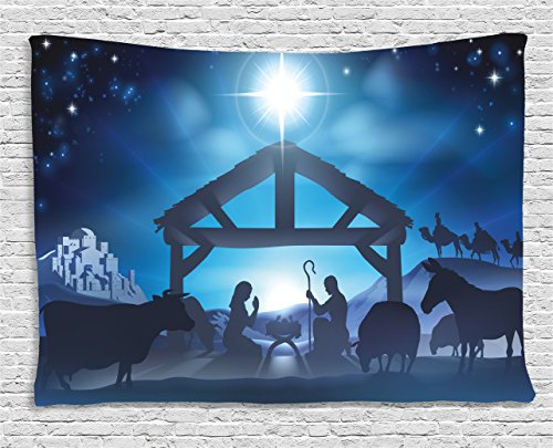 Ambesonne Blue Tapestry, Traditional Scene of Nativity Bethlehem with Christmas Star Joseph Mary, Wall Hanging for Bedroom Living Room Dorm, 80 W X 60 L Inches, Grey Dark Blue Sky Blue
