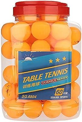 Alomejor 60 Piezas Pelota Tenis Mesa 40 mm 3 Estrellas Pelotas Ping Pong Blancas Naranjas llanas Entrenamiento Deportivo para Entretenimiento Entrenamiento Tenis Mesa Juegos Adultos Orange