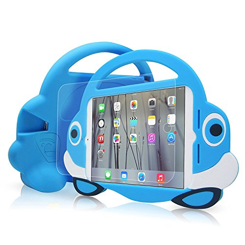 [Cartoon Car Style]Ipad Mini Case,TopEs Kids Fun Mini Cartoon Shockproof Silicone Protective Case Cover+(Tempered Glass Screen Protector) for iPad Mini, Mini 2, Mini 3 and Retina Models (Blue)