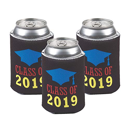 Fun Express - Class Of 2019 Can Covers for Graduation - Party Supplies - Drinkware - Can & Bottle Insulators - Graduation - 12 -