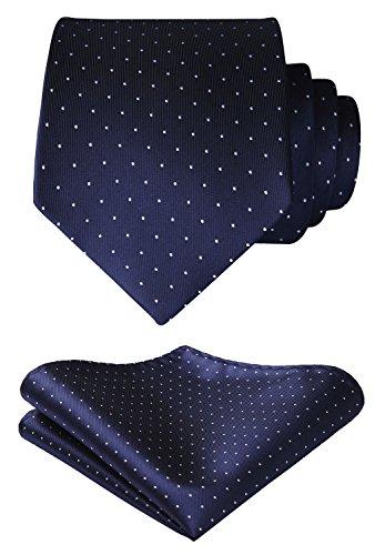 HISDERN Men's Polka Dot Tie Handkerchief Wedding Party Necktie & Pocket Square Set Dark Blue