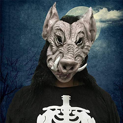 Culturemart Wild Boar Head Latex Full Face Adult Mask Breathable Halloween Masquerade Fancy Dress Party Cosplay Costume Scary Animal Masks ()