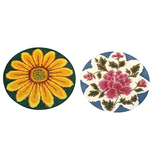 (Baosity 2 Sets Latch Hook Rug Kit DIY Rose Flowers Carpet Craft Rug Making for Adults Home Decor)