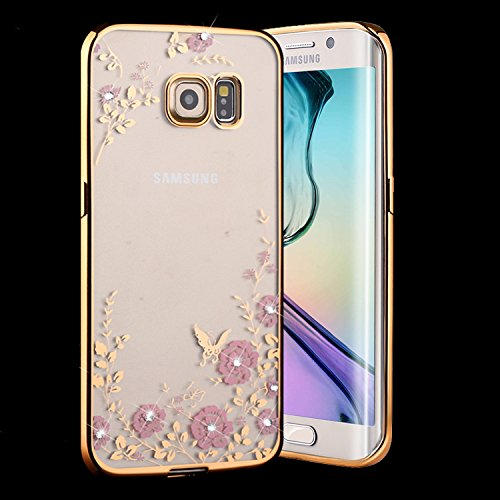 (Samsung Galaxy S7 Case,Inspirationc® [Secret Garden] Gold and Pink TPU Plating Clear Shiny Cover Series for Samsung Galaxy S7--Swarovski)