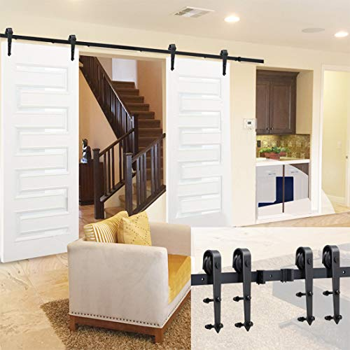 Yaheetech 12Ft Sliding Barn Door Closet Hardware Set Black Wood Antique Style Double Track Kit System ()