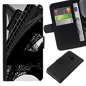 Ihec-Tech / Flip PU Cuero Cover Case para HTC ONE M7 - Architecture Eiffel Tower Close Up