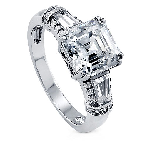 BERRICLE Rhodium Plated Sterling Silver Asscher Cut Cubic Zirconia CZ 3-Stone Anniversary Engagement Ring 3.4 CTW Size - Baguette Ring Asscher