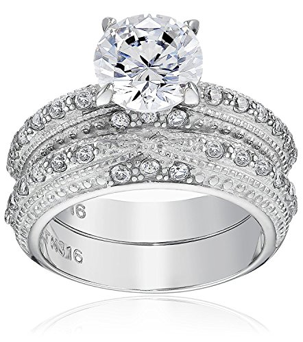 FlameReflection Round Cut CZ Vintage Stainless Steel Wedding Ring Set Womens Size 5-11 SPJ
