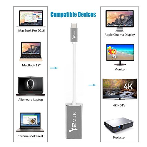 USB Type C Adapter,YRMJK USB C Type to DisplayPort/ DP Adapter Cable With Power Aluminium Case Support 4K 60HZ resolution for Apple New Macbook Pro 2017, Samsung Galaxy S8 by YRMJK (Image #5)