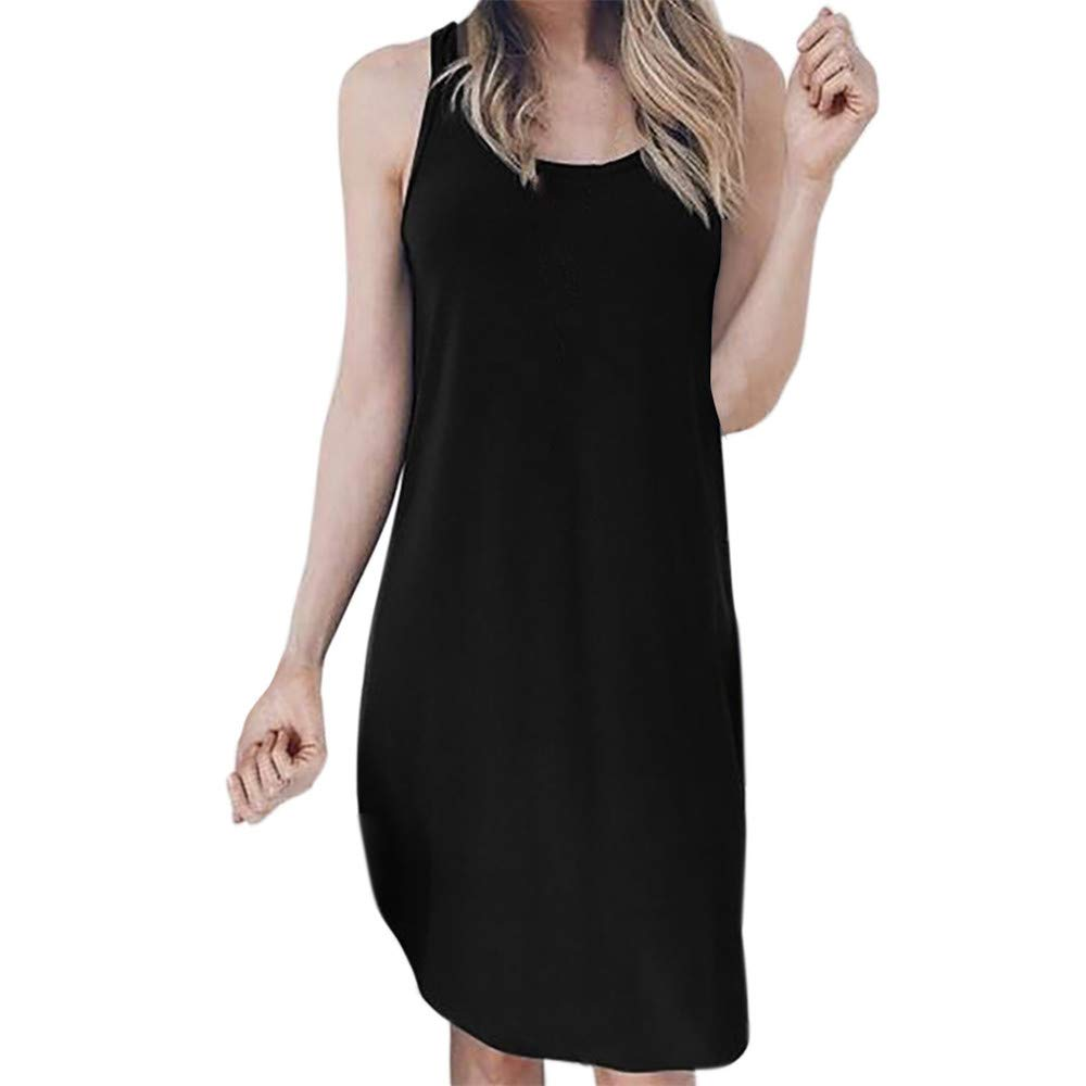 BAOHOKE Ladies Round Neck Sleeveless Solid Color Midi Dresses////Tank Tops Summer Loose a-Line Dress for Women