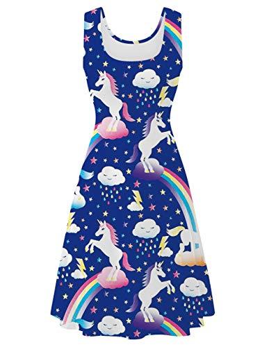 (Uideazone Women's Vintage Scoop Neck Midi Dress Sleeveless A-line Cocktail Party Tank Dress)