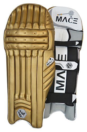 MACE Men's Pro Color Cricket Batting Pad, Right Hand, Brown/Gold (Pro Leg Gold Guards)