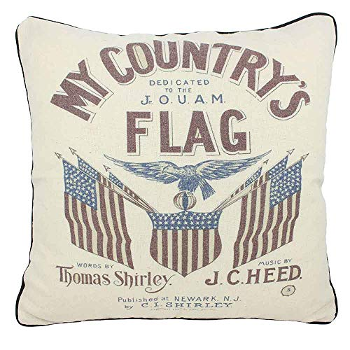 JuniperLab Vintage Primitives Old Retro Country Linen Rustic Throw Pillow Case Cushion Cover My Countrys Flag 16 Square
