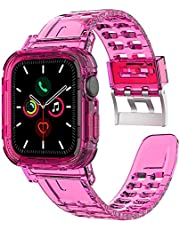 Transparent Silicone Neon Watch Band & Case (42/44 mm) Fluorescent Shockproof For Apple Watch Series 6/5/4/3/2/1/SE - Neon Pink