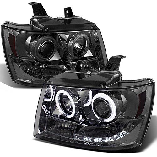 For Suburban Avalanche Tahoe Smoked Smoke Dual CCFL Halo Ring LED DRL Projector Replacement Headlights