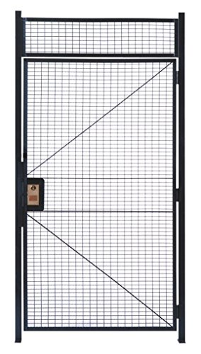 4' Steel Hinge Pin - WireCrafters HD478RW RapidWire Welded Steel Wire Mesh Hinged Door with 1' High Transom Panel and 2 Door Posts, 4' Width x 7'3-1/4