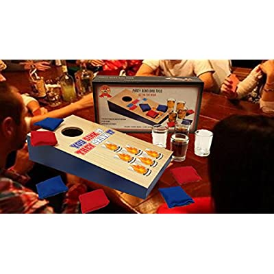 Barwench Games' Cornhole Bean Bag Toss Tabletop Party Drinking Game, Includes Playing Board, Shot Glasses, Bean Bags!