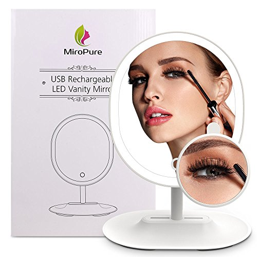 MiroPure Lighted Makeup Mirror, Oval-Shaped Vanity Mirror with 5x Magnifying Spot Travel Mirror Detachable, 16 LED Lights Dimmable, Built-in 1000mah Lithium Battery USB Rechargeable